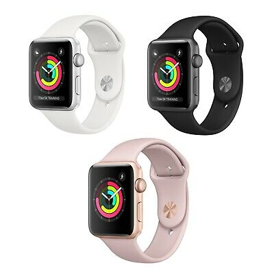 Apple Watch Series 3 GPS 38mm or 42mm Space Gray Black Sport Band Aluminum NEW