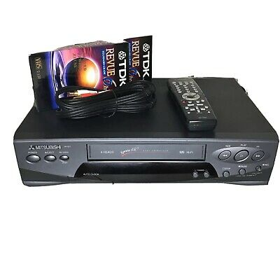 Mitsubishi HS-G21 4-Head Hi-Fi VCR VHS Xpress 450 With Remote Cables & 2 Tapes
