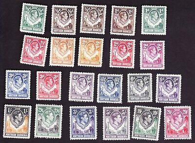 Northern Rhodesia GVI 1938 full set of 21+extra 1/2d perf.(see details) cat £250