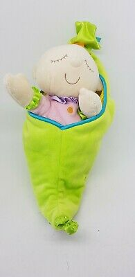 """Manhattan Toys Sweet Pea snuggle pod baby comforter soft doll toy green pink 9"""""""