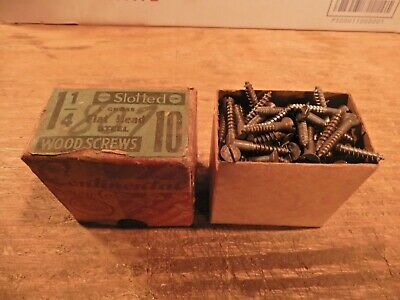 antique wood screws 1 1/4 X #10 flat head slotted fastener vintage box lot steel