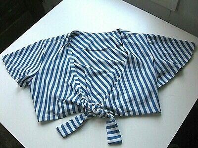 Vintage Blue/White Striped Polyester Crop Top Blouse