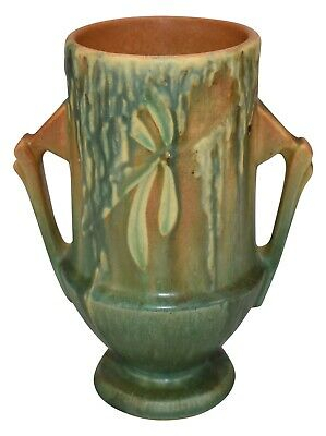 Roseville Pottery Moss Tan And Green Ceramic Vase 774-6