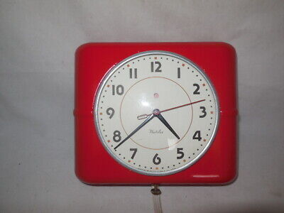 Vintage Wall Electric Clock Westclox Belfast S7-A Kitchen Red Retro Good Working