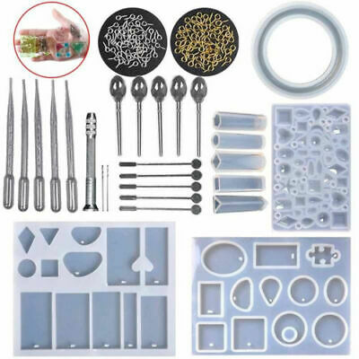 127Pcs Resin Casting Mold Kit Silicone Making Jewelry Pendant Mould Surp M8D7B
