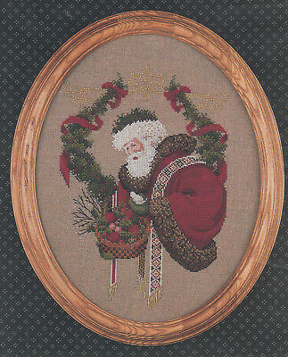 Lavender and Lace Gift of Peace counted crossstitch pattern  LL6 Santa Christmas