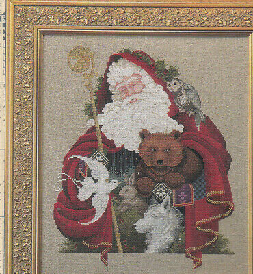 Lavender and Lace SANTA OF THE FOREST cross stitch pattern  LL21   CHRISTMAS