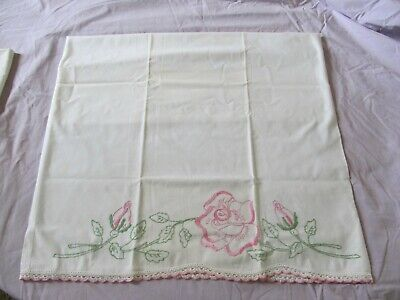 2 Antique White Cotton Crocheted  and Embroidered Pillow Cases