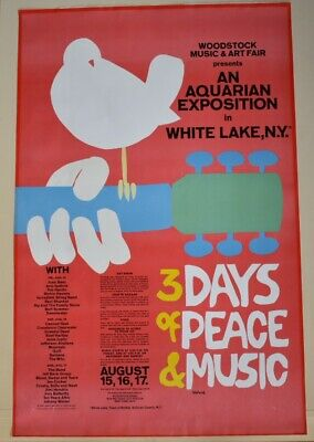 1969 Woodstock poster EXCELLENT! ORIGINAL!