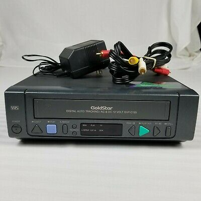 Goldstar GVP-C125 AC & DC 12 Volt Vcr Tested w/ AC Power Supply and RCA Cables