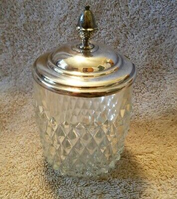 Vintage Decorative Crystal Style JELLY / JAM JAR with Silver Lid.