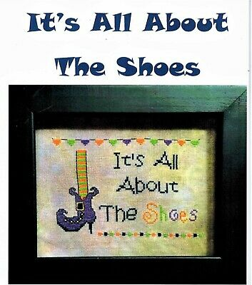 ✔️ Cross Stitch Chart IT'S ALL ABOUT THE SHOES Halloween Witch Boot Heel NEW