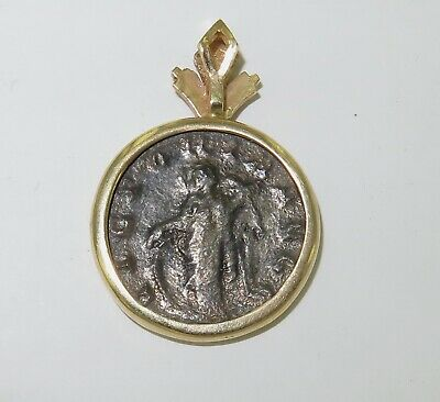 .Unknown Ancient Coin Pendant In 14K Surround. #3