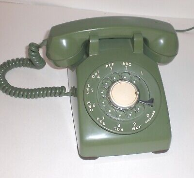 Vintage Green Rotary Dial Desk Phone Western Electric Bell System CD 500 RINGS