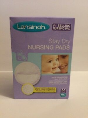 """New Lansinoh """"Stay Dry"""" Nursing Pads - 60 count in Sealed Box"""
