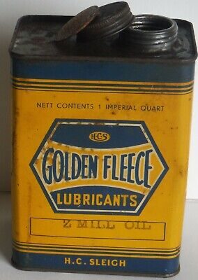 Golden Fleece Oil Tin H C Sleigh 1 Quart old