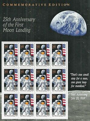 U.S. 1994 MOON LANDING 25th Anniversary 12/29c Scott #2841 MNH Souvenir Sheet