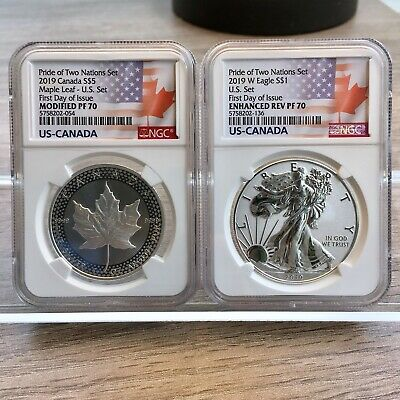 2019 Pride of Two Nations US $1 Silver Eagle and $5 Maple Leaf FDI PF 70 NGC