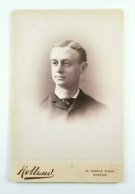 ID'd Cabinet Card Photo Portrait Of A Young Man Holland Boston Mass 1888