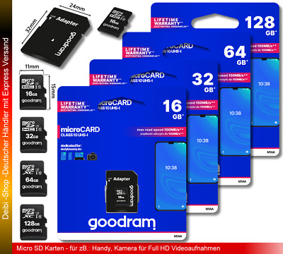 Micro SD-Karte 4/16/32/64/128GB micro SD Card Class10 SDHC SDXC inkl. Adapter