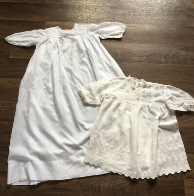 X2 Girls Vintage Antique Dresses White Cotton Embroidery