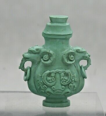 Spectacular Very Rare Antique Chinese Green Turquoise Snuff Bottle Circa 1800s