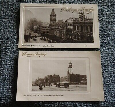 c1909 2 x REAL PHOTO CARDS COLLINS ST MELBOURNE & THE CLOCK TOWER PRINCES RIVER