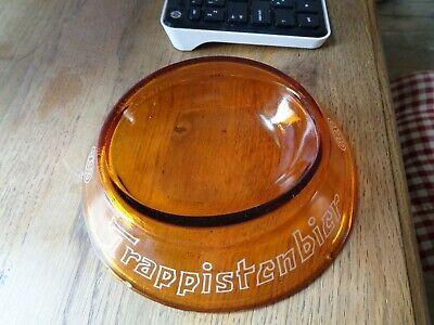 Amber glass ashtray Trappistenbier Westmalle advertising cendrier asbak not new