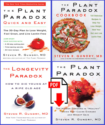 All 4 The Plant Paradox & Longevity by Dr. Steven R Gundry M.D. free&fast shippi