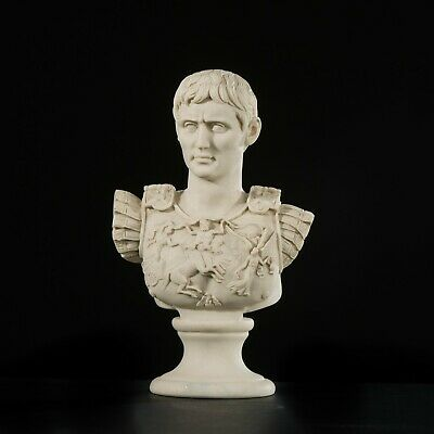 Marble Bust of Roman Emperor Augustas, Classical Sculpture. Art, Gift, Ornament