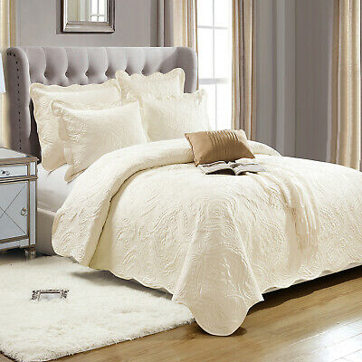 Cream King Size Cotton Embroidered Bedspread Comforter Bed Throw + Pillow Shams