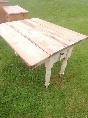 Old Pine Kitchen Table / Drop Leaf Farmhouse Rustic Country Table With Drawer
