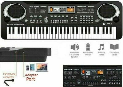 Digital 61 Tasten Einsteiger Keyboard E-Piano Klavier 16 Sounds 10 Rhythmen +Mic