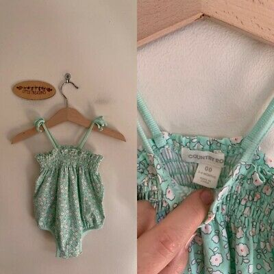 Sz 00 Country Road Pale Green Floral Romper