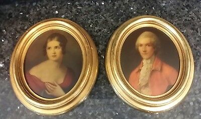 Antique Pair of Tempera on Board Portrait Paintings Gold Gilt Oval Wood Frame