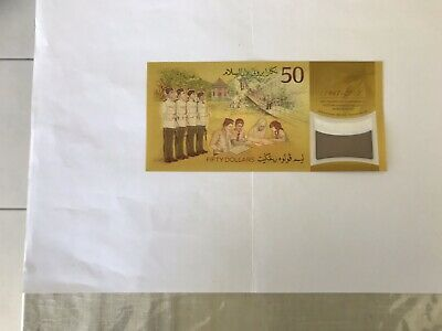 Commemorative 50 Brunei Dollar Gold Coloured Polymer Bank Note With Hologram.