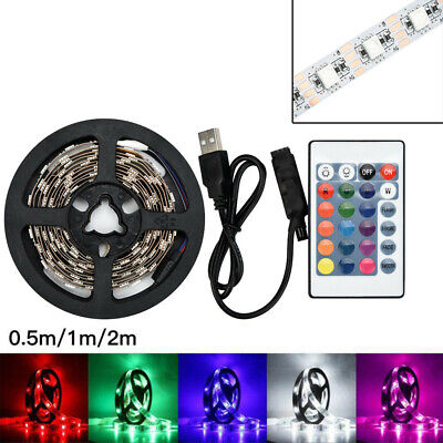 50-200cm USB LED Strip Light TV Back Lamp 5050RGB Colour Changing+Remote Control