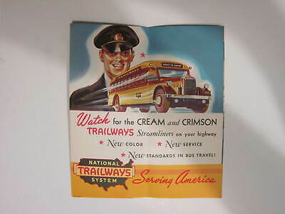 Rare 1936 NATIONAL TRAILWAYS SYSTEM FLYER * TRAILWAYS BUS VACATIONS * NEAR MINT