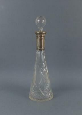 Antique Judaica Crystal Cut Glass Decanter with Solid Silver top
