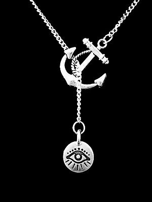 Evil Eye Necklace Good Luck Protection Charm Anchor Lariat Jewelry