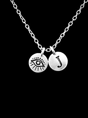 Evil Eye Necklace Initial Good Luck Protection Charm Jewelry