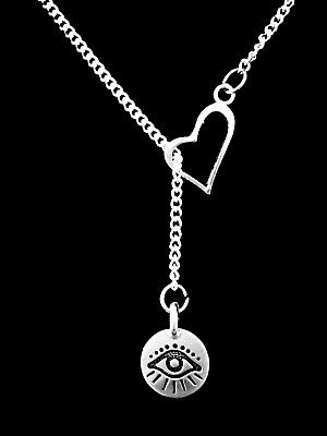 Evil Eye Necklace Good Luck Protection Charm Heart Lariat Jewelry