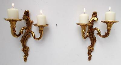Pair of Vintage French Bronze Rococo Candle Sconces Wall Lights