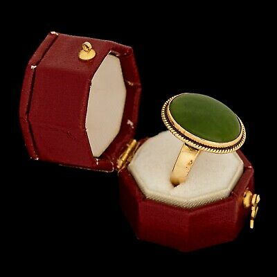 Antique Vintage Art Deco 18k Gold Chinese Carved Nephrite Jade Pinky Ring S 4.25