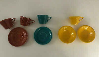 Lot of 8 Homer Laughlin China Harlequin Yellow Rose Turquoise Cup Saucer Bowl