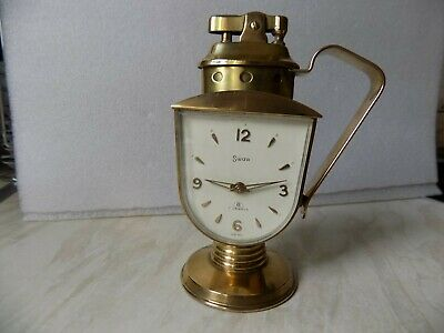 Vintage Swiza 7 Jewel Alarm Clock with Lighter Rare