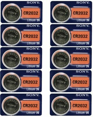 10 Pieces Fresh SONY CR2032 DL2032 ECR2032 Lithium 3V Watch Battery Exp 2025 NEW