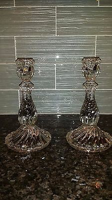 "Two Matching Vintage Clear Glass Swirl Candlesticks Beautiful 8-3/4"" high"