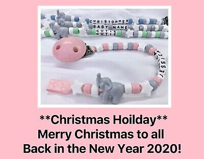 🐘 PERSONALISED DUMMY CLIP 🐘 ELEPHANT 🐘 Name 12 Letters 🐘 4 PASTEL Colours 🐘