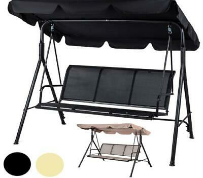 3 Seater Black Garden Patio Swing Hammock Swinging Metal Terrace With Cushion